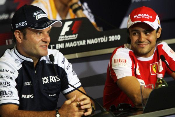 (L to R): Rubens Barrichello (BRA) Williams and Felipe Massa (BRA) Ferrari in the FIA Press Conference. Formula One World Championship, Rd 12, Hungarian Grand Prix, Preparations, Budapest, Hungary, Thursday 29 July 2010.  BEST IMAGE