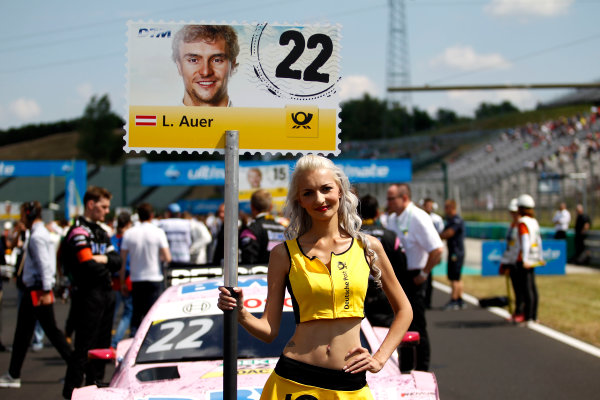 2017 DTM Round 3 Hungaroring, Budapest, Hungary. Sunday 18 June 2017. Grid girl of Lucas Auer, Mercedes-AMG Team HWA, Mercedes-AMG C63 DTM World Copyright: Alexander Trienitz/LAT Images ref: Digital Image 2017-DTM-R3-HUN-AT1-2166