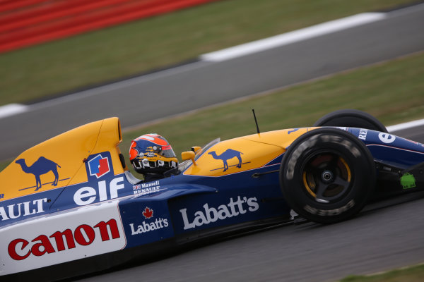 Silverstone, Northamptonshire, UK.  Saturday 15 July 2017. Karun Chandhok drives the Championship winning Williams FW14B Renault, raced in 1992 by Nigel Mansell, as part of the Williams 40th Anniversary celebrations. World Copyright: Dom Romney/LAT Images  ref: Digital Image 11DXA6916