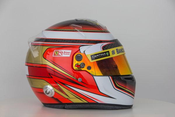 Hinwil, Switzerland. Thursday 29 January 2015. Helmet of Raffaele Marciello, Test and Reserve Driver, Sauber.  World Copyright: Sauber F1 Team (Copyright Free FOR EDITORIAL USE ONLY) ref: Digital Image 2015_SAUBER_HELMET_14
