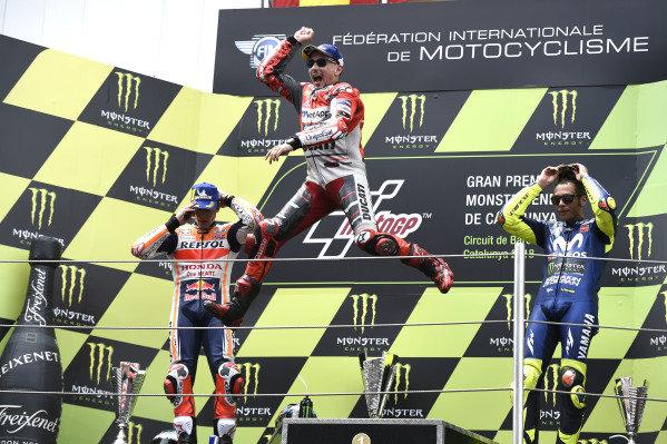 Podium: second place Marc Marquez, Repsol Honda Team, Race winner Jorge Lorenzo, Ducati Team, third place Valentino Rossi, Yamaha Factory Racing.
