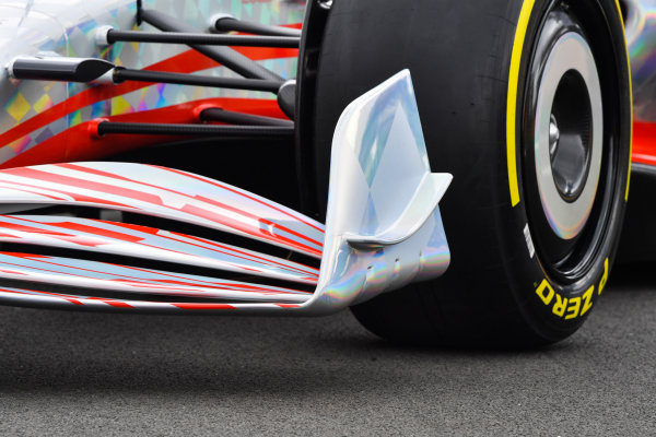 The 2022 Formula 1 car launch event on the Silverstone grid. Front wing detail