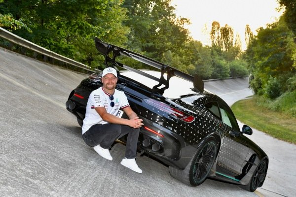 Valtteri Bottas, Mercedes, on the old Monza banking with a Mercedes AMG GT