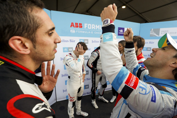 Sébastien Buemi (CHE), Nissan e.Dams, and Felipe Massa (BRA), Venturi Formula E, in discussion after superpole