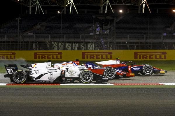 Marino Sato (JPN, Trident), leads Robert Shwartzman (RUS, Prema Racing), and Ralph Boschung (CHE, Campos Racing)