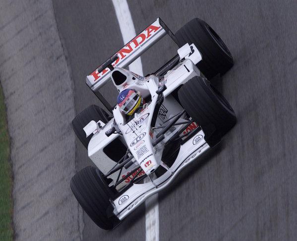 2001 American Grand Prix - QualifyingIndianapolis, United States. 29th September 2001.Jacques Villeneuve, BAR Honda BAR003, action.World Copyright: Steve Etherington/LAT Photographicref: 18mb Digital Image