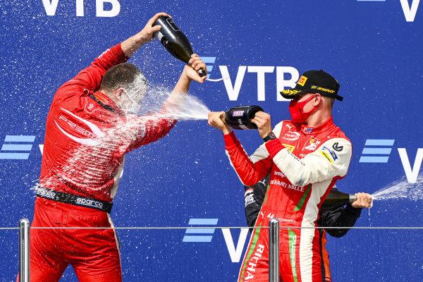 Winning Constructor Representative and Race Winner Mick Schumacher (DEU, PREMA RACING) celebrates on the podium with the chamapgne