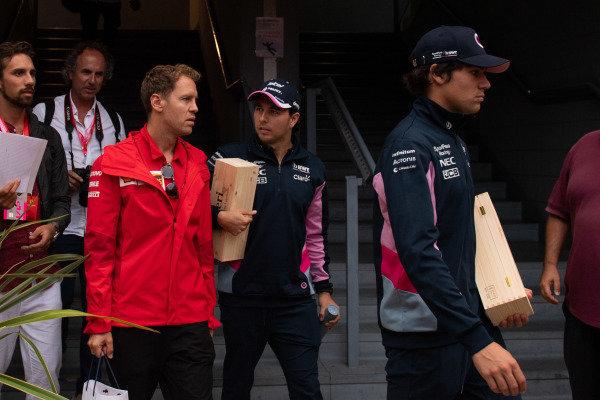 Sebastian Vettel, Ferrari, Sergio Perez, Racing Point and Lance Stroll, Racing Point