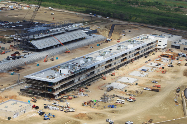 Aerial views of the Circuit of the Americas showing the media centre. Circuit of the Americas Construction, Austin, Texas, USA, Thursday 14 June 2012.