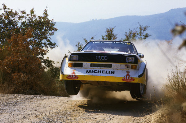 1985 World Rally Championship. Sanremo Rally, Italy. 29 September-4 October 1985.  Walter Rohrl/Christian Geistdorfer (Audi Sport Quattro E2), 1st position, action. World Copyright: LAT Photographic. Ref: 35mm transparency 85RALLY09.