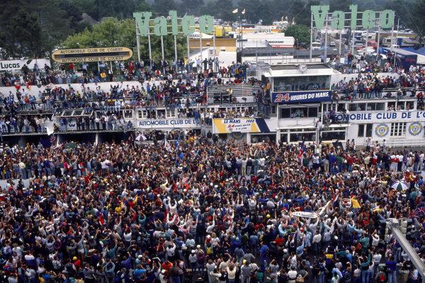 Le Mans, France. 11th - 12th June 1988 Jan Lammers/Johnny Dumfries/Andy Wallace Jaguar XJR-9 LM, 1st position, podium. World Copyright: LAT Photographic ref: 88LM04