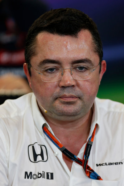 Circuit of the Americas, Austin, Texas, United States of America.  Friday 23 October 2015. Eric Boullier, Racing Director, McLaren, in the Team Principal Press Conference. World Copyright: Andrew Ferraro/LAT Photographic ref: Digital Image _FER6355