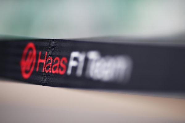 Albert Park, Melbourne, Australia. Wednesday 16 March 2016. Haas F1 Team logo World Copyright: Andrew Hone/LAT Photographic. ref: Digital Image HONY9866