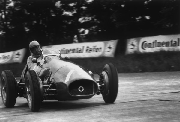 Nurburgring, Germany. 30th July - 1st August 1954.Jose Froilan Gonzalez/Mike Hawthorn (Ferrari 625), 2nd position, action. World Copyright: LAT Photographic.Ref:  B/W Print.