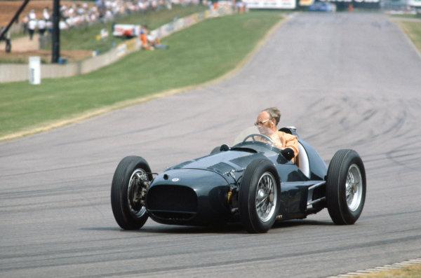 Tom Wheatcroft drives a BRM around Donington Park. World Copyright: LAT Photographic. Ref: Colour Transparency.