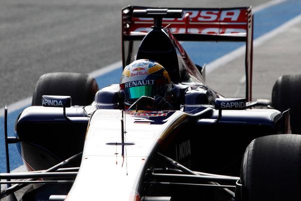2014 F1 Pre Season Test 1 - Preview Circuito de Jerez, Jerez, Spain. Tuesday 28 January 2014. Jean-Eric Vergne, Toro Rosso STR9 Renault, returns to the pits. World Copyright: Andrew Ferraro/LAT Photographic. ref: Digital Image _Q0C0542