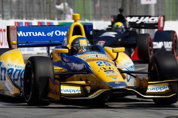 11-13 April, 2014, Long Beach, California USA Marco Andretti leads Oriol Servia ©2014, Phillip Abbott LAT Photo USA