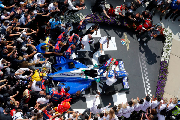 Verizon IndyCar Series Indianapolis 500 Race Indianapolis Motor Speedway, Indianapolis, IN USA Sunday 28 May 2017 Takuma Sato, Andretti Autosport Honda celebrates in victory lane after winning World Copyright: Russell LaBounty LAT Images