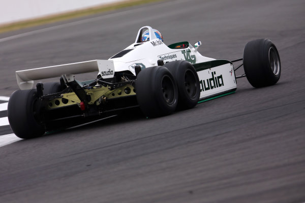 Silverstone, Northamptonshire, UK.  Saturday 15 July 2017. Paul di Resta drives a 1982 Williams FW08B Cosworth 6 wheeled F1 car in a parade as part of the Williams 40th Anniversary celebrations. World Copyright: Dom Romney/LAT Images  ref: Digital Image 11DXA7106