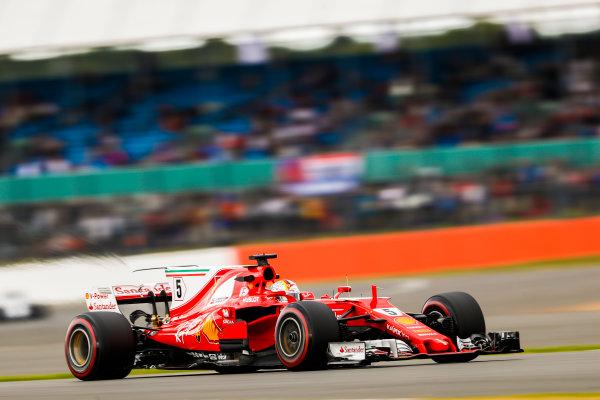 Silverstone, Northamptonshire, UK.  Friday 14 July 2017. Sebastian Vettel, Ferrari SF70H. World Copyright: Glenn Dunbar/LAT Images  ref: Digital Image _X4I3389