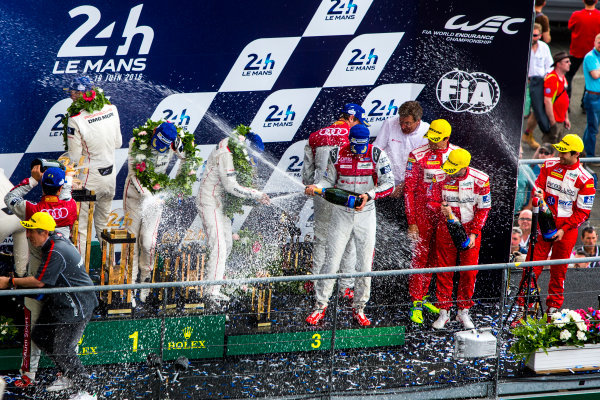 2016 Le Mans 24 Hours. Circuit de la Sarthe, Le Mans, France. Sunday 19 June 2016. Porsche Team / Porsche 919 Hybrid - Romain Dumas (FRA), Neel Jani (CHE), Marc Lieb (DEU), Toyota Gazoo Racing / Toyota TS050 - Hybrid - Stephane Sarrazin (FRA), Michael Conway (GBR), Kamui Kobayashi (JPN), Audi Sport Team Joest / Audi R18 - Lucas Di Grassi (BRA), Loic Duval (FRA), Oliver Jarvis (GBR), Rebellion Racing / Rebellion R-One-AER - Nicolas Prost (FRA), Nick Heidfeld (DEU), Nelson Piquet (NLD).  World Copyright: Zak Mauger/LAT Photographic ref: Digital Image _79P9255