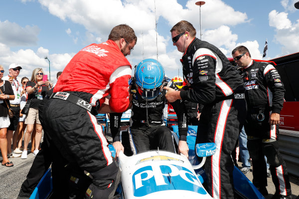 29-31 July, 2016, Lexington, Ohio USA Winner Simon Pagenaud is helped from the car by his crew ?2016, Michael L. Levitt LAT Photo USA