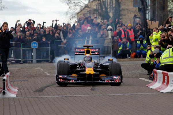 Milton Keynes.  Saturday 10th December 2011.Sebastian Vettel, Red Bull Racing RB7 Renault in action during the Red Bull Racing home run.Photo: LAT Photographic.Ref: Digital Image _Q0C6891 jpg