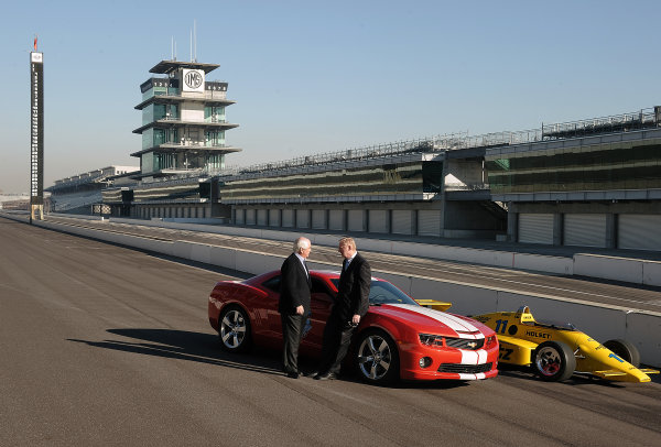 12 November 2010. Indianapolis, Indiana USA.Tom Stephens, Vice Chairman of Global Products Operation for GM chats with Roger Penske on front straight at Indy 500.©2010 Dan R. Boyd LAT USA Photographic.