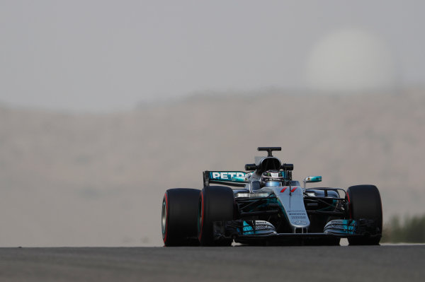 Bahrain International Circuit, Sakhir, Bahrain.  Wednesday 19 April 2017. Valtteri Bottas, Mercedes F1 W08 EQ Power+.  World Copyright: Glenn Dunbar/LAT Images ref: Digital Image _X4I4702
