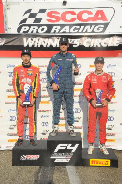 11-14 August, 2016, Lexington, Ohio USA Race #2 winner, Skylar Robinson with jackie Ding and Austin Kaszuba ©2016 Dan R. Boyd LAT Photo USA