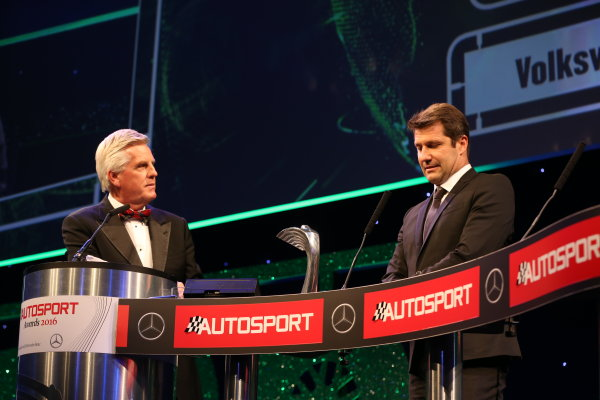 2016 Autosport Awards.  Grosvenor House Hotel, Park Lane, London. Sunday 4 December 2016.  Volkswagen WRC technical chief Francois Demaison receives the Rally Car of the Year award for the VW Polo, on stage with Steve Rider. World Copyright: Jed Leicester/LAT Images. ref: Digital Image JL1_9336