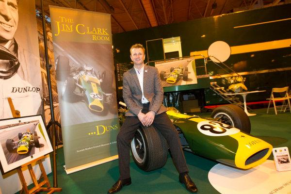 Autosport International Exhibition. National Exhibition Centre, Birmingham, UK. Friday 9 January 2015. Allan McNish at the Classic Team Lotus stand. World Copyright: Edd Hartley/Jakob Ebrey/LAT Photographic. ref: Digital Image JE2_2234