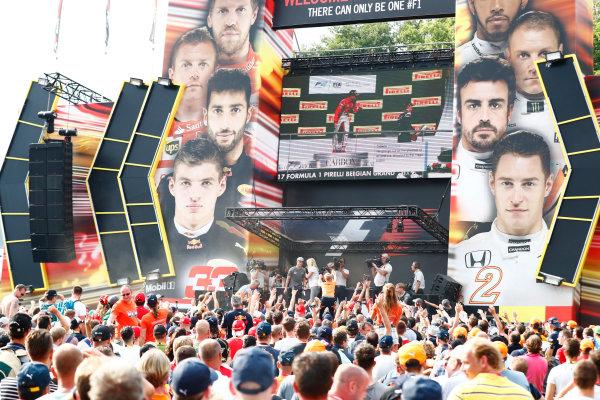 Spa Francorchamps, Belgium.  Saturday 26 August 2017. Stoffel Vandoorne, McLaren, on stage in the F1 Fanzone. World Copyright: Sam Bloxham/LAT Images  ref: Digital Image _J6I9115