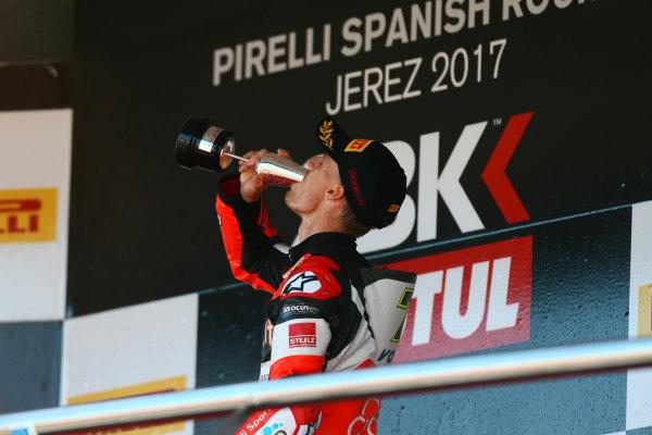 2017 Superbike World Championship - Round 12  Jerez, Spain. Sunday 22 October 2017 Podium: Chaz Davies, Ducati Team World Copyright: Gold and Goose Photography/LAT Images ref: Digital Image 701221