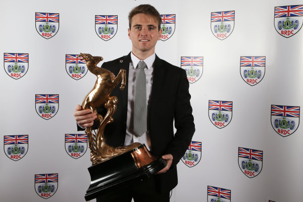 2015 British Racing Drivers Club Awards Grand Connaught Rooms, London Monday 7th December 2015 Oliver Rowland. World Copyright: Jakob Ebrey/LAT Photographic ref: Digital Image Rowland-02