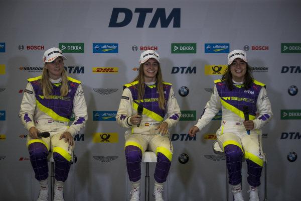 Beitske Visser (NLD), Marta Garcia (ESP), and Jamie Chadwick (GBR), in the press conference