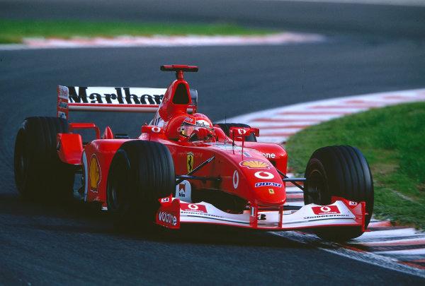 2002 Belgian Grand Prix.Spa-Francorchamps, Belgium. 30/8-1/9 2002.Michael Schumacher (Ferrari F2002) 1st position and a record 10th Grand Prix win in a single season. Ref-02 BEL 07.World Copyright - Coates/LAT Photographic