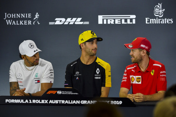 Lewis Hamilton, Mercedes AMG F1, Daniel Ricciardo, Renault F1 Team and Sebastian Vettel, Ferrari in Press Conference