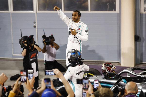 Lewis Hamilton, Mercedes AMG F1 celebrates winning the race in parc ferme
