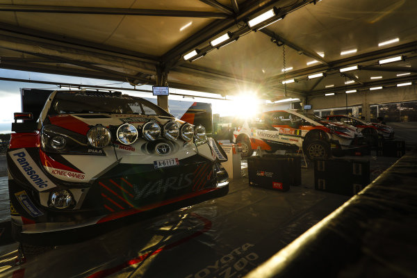 The Toyota Gazoo Racing Cars in the Service Park for Wales Rally GB 2018