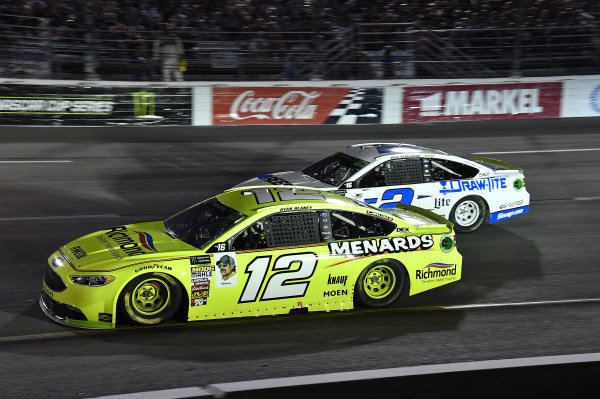 #12: Ryan Blaney, Team Penske, Ford Fusion Menards/Richmond and #2: Brad Keselowski, Team Penske, Ford Fusion Reese/DrawTite