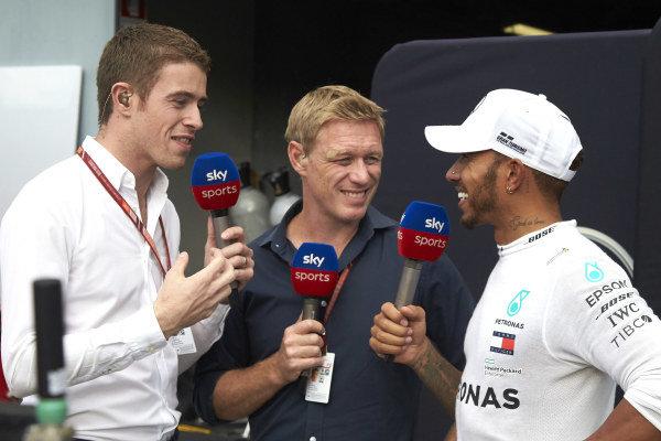 Lewis Hamilton, Mercedes AMG F1, talks to Paul di Resta and Simon Lazenby of Sky Sports.