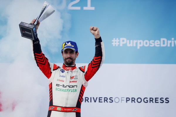 Lucas Di Grassi (BRA), Audi Sport ABT Schaeffler, 3rd position, celebrates on the podium with his trophy