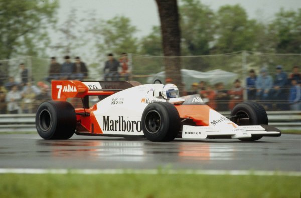 Imola, Italy.4-5 May 1984.Alain Prost (McLaren MP4\2 TAG Porsche) 1st position.Ref-84 SM 06.World Copyright - LAT Photographic