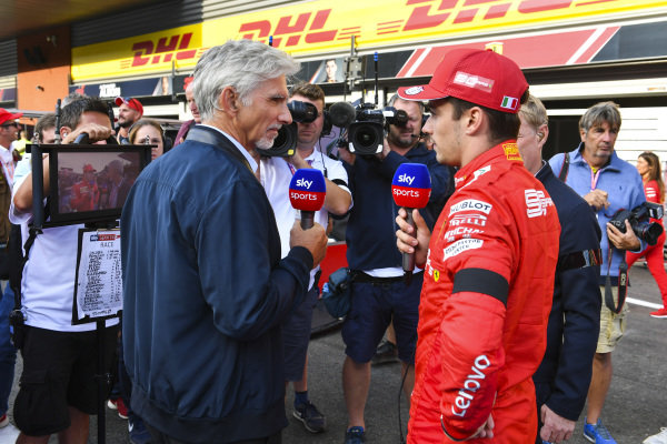 Winner Charles Leclerc, Ferrari, talks to Sky presenters Damon Hill, Sky TV and Simon Lazenby