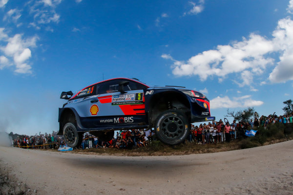 Thierry Neuville attacks one of the jumps on Rally Argentina