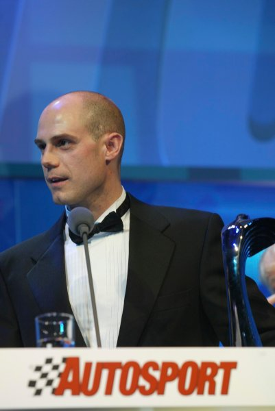 2003 AUTOSPORT AWARDS, The Grosvenor, London. 7th December 2003.Martin Rowe, winner of National Rally driver award.Photo: Peter Spinney/LAT PhotographicRef: Digital Image only