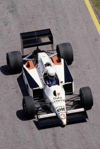 1986 Brazilian Grand Prix. Jacarepagua, Rio de Janeiro, Brazil. 21-23 March 1986. Martin Brundle (Tyrrell 014 Renault) 5th position. Ref-86 BRA 38. World Copyright - LAT Photographic