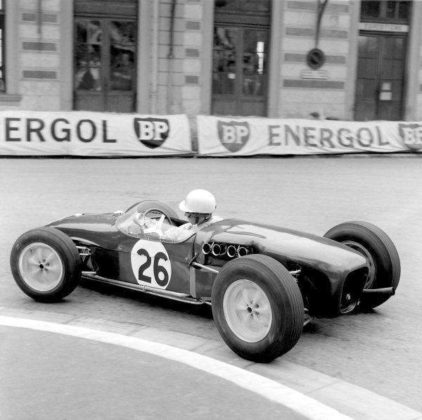1960 Monaco Grand Prix.Monte Carlo, Monaco. 29 May 1960. John Surtees makes his GP debut in a Lotus 18-Climax.World Copyright: LAT Photographic.ref-6519 40mb Scan from B&W Print
