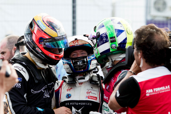Jean-Eric Vergne (FRA), TECHEETAH, Renault Z.E. 17, celebrates with Sam Bird (GBR), DS Virgin Racing, DS Virgin DSV-03, and Lucas Di Grassi (BRA), Audi Sport ABT Schaeffler, Audi e-tron FE04.